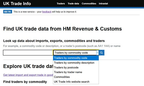 updated UK Trade Info search options